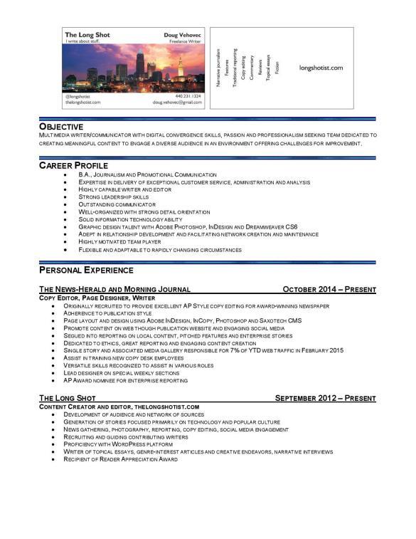 Doug Vehovec Resume 2016-page-001