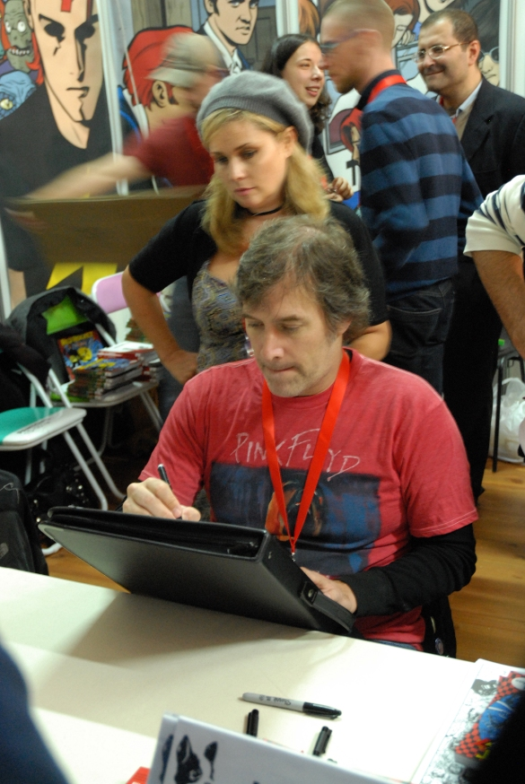 Allred at work during Lucca Comics & Games 2010, an annual convention held in Lucca, Italy.