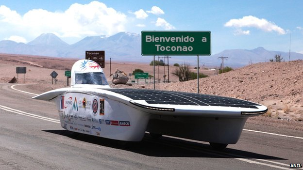 One of the racers in the Solar Cars Atacama Rally