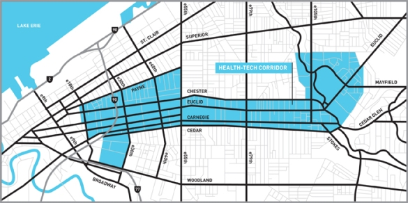 Cleveland's Health-Tech Corridor. How much you want to bet this map was made using GIS technology?