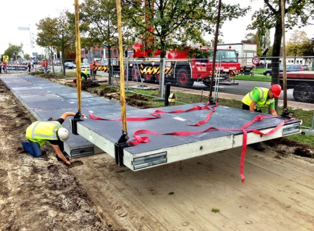 Installation of SolaRoad in the Netherlands.