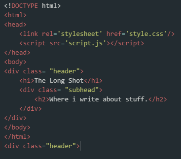 The HTML code for the header.