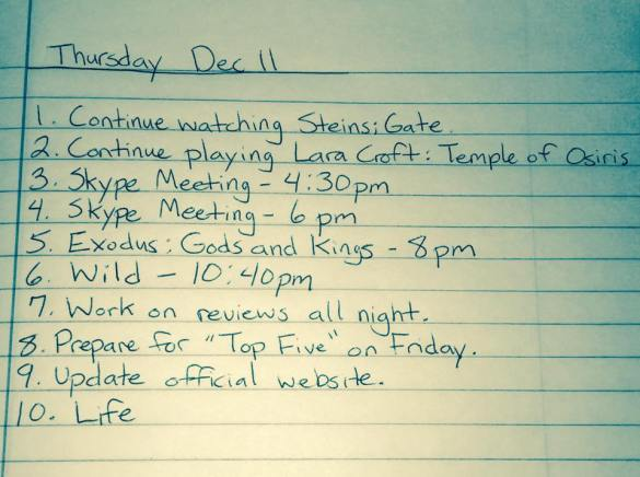 Chris Stuckmann's schedule for Dec. 11. i was #3!