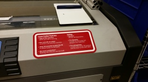 Bob's favorite feature of the laser cutter - the safety alert to hit the big red button if there's a fire