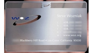 Steve Wozniak's custom metal business card. This image is from a Google search - not the actual one given to Chris Wentz.