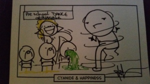 "For a custom sketch, i picked a random scenario out of a box and Shawn Coss drew whatever came to mind in the Cyanide & Happiness style. This was called ""Awkward Dance."""