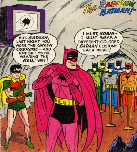 There's a Funko Pop! figure for each of Batman's rainbow costumes from Detective Comics #241. This is the crown jewel of my comics collection. He MUST wear a different colored Batman costume each night!
